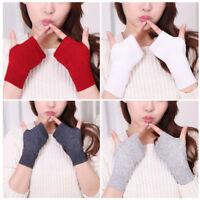 Fashion Women's Soft Cashmere Fingerless Winter Gloves Hand Wrist Warmer Mitten
