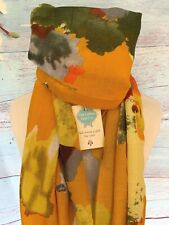 OCHRE WATERCOLOUR ABSTRACT FLOWER  SCARF SHAWL WRAP GIFT FLOWERS MUSTARD YELLOW