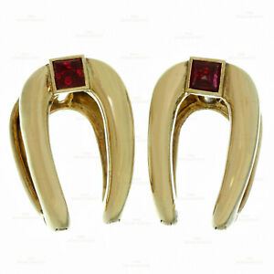 Retro BOUCHERON Ruby 18k Yellow Gold France 1940s Cufflinks