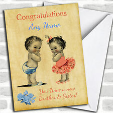 You Have Twin Brother & Sister Vintage New Baby Personalised Card