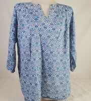 Talbots Womens Blouse Size 1X V Neck Floral Pink Blue 3/4 Sleeve