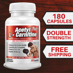 3 X Acetyl L - Carnitine Weight Loss Fat Burn Alcar Nootropric 180 Capsules
