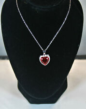 5,5 carat created Ruby & Diamond necklace with silver chain
