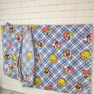 Vintage Looney Tunes Twin Flat Fitted Sheet Bibb Plaid Taz Tweety Sylvester Bugs