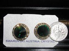 GLITTERING EMERALD GREEN AUSTRIAN CRYSTAL RHINESTONE PIERCED EARRINGS  M