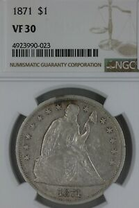 1871 NGC VF 30    1800's Half Dollar, Liberty Seated Half, 50 Cents
