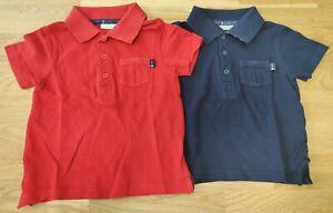 JoJo Maman Bebe 2-3 years toddler boy pique polo shirts tops classic blue red