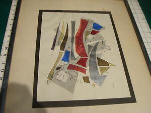 Original LUCIA STERN mixed media w overlay & stitchery SIX VARIATIONS ON A THEME
