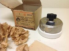 NOS Antique Surface Rotary Switch Snap Switch Porcelain Base Bakelite Knob