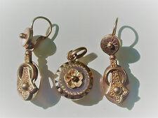 BELLES BOUCLES D'OREILLES avec PENDENTIF en Plaqué or rose / ANCIENS XIXème