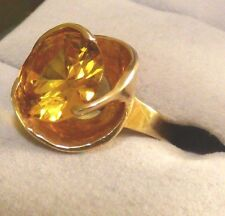 14K SOLID YELLOW GOLD 4 CARAT CITRINE TOPAZ RING (NOVEMBER BIRTHSTONE) SIZE:3.75