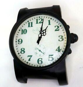 "Heavy Metal Wrist Watch Wall Clock Industrial Black Large 16"" Les Deux Magots"
