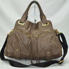 BCBG Maxazria Brown Genuine Leather Pocket Satchel With Shoulder Strap Bag