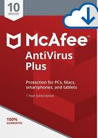 McAfee AntiVirus Plus 2018, 10 Multi-Devices PC,MAC,ANDROID, 1 Year DOWNLOAD