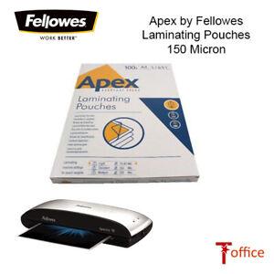 Laminating Pouches A4 Clear 150 MICRON (2x75) Fellowes Apex