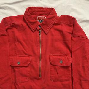 Marlboro Unlimited Vintage 90's Red Corduroy 1/2 Zip Pullover Shirt Jacket  L