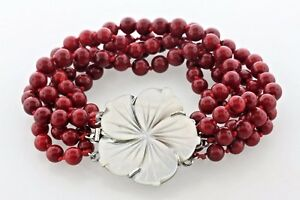 "LP Sterling Silver Red Bead Strand Carved Mother of Pearl Flower Bracelet - 7.5"""
