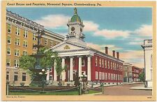 Court House and Fountain in Chambersburg Pa Postcard
