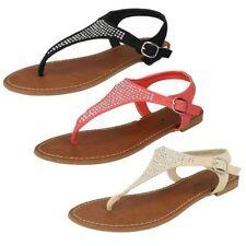 Flache Damen-Sandalen & -Badeschuhe-Zehentrenner aus Synthetik für die Freizeit