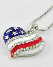 NEW CRYSTAL HEART AMERICAN FLAG PENDANT NECKLACE PATRIOTIC 4TH OF JULY