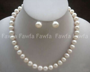 8-9mm White Akoya Real Freshwater Cultured Pearl Necklace Earrings Set 18''