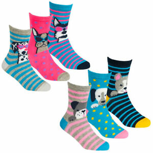 GIRLS DOG SOCKS X 3 PAIRS SIZES 6-8..5,  9-12, 12.5-3.5 NEW IDEAL GIFT (Y)