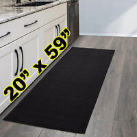 "Carpet Runners Rug Solid Black 20""x59"" for Hallway Sink Kitchen Stove Entrance"