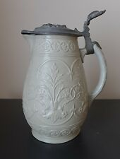 19th century Jug With A Decorated Pewter Lid
