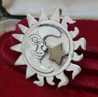 Vintage Sterling Silver and Brass Brooch and Pendant, Large Sun,Moon,Star,Mexico
