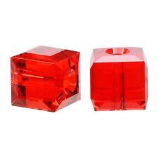6 #5601 Swarovski Austrian Crystal Beads - Light Siam - 6mm Cube (6 pcs)