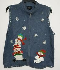 Ladies Christmas Jumper/Cardigan/Waistcoat RARE Size UK-16 Vintage Blue SNOWMAN