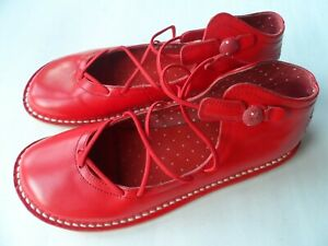 CAMPER CONTACT EARTH RED LEATHER LACE UP FLATS-SZ 5 UK/38 EU/7 US EXCELLENT