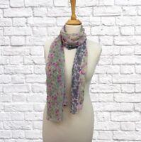 Ladies Chiffon Dress Scarf Ditsy Floral Pinks Grey Green Lemon 160 x 50 cm