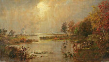 Fine Oil painting nice landscape Hackensack Meadows with cows by the dusk river