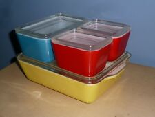 VINTAGE PYREX PRIMARY COLOR REFRIGERATOR DISH 8 PIECE SET YELLOW BLUE GREEN RED