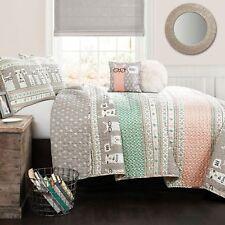 5pc LLAMA Queen Quilt Set Southwest Pink/Turquoise/Gray w/ Pillows LUSH DECOR