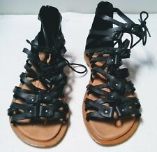 Bamboo Women's 7 Black Ankle Gladiator Sandals Back Zipper Lace Up Faux Leather