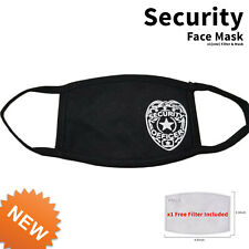 Security Officer Face Mask with filter black adult size fits most facemask New
