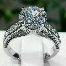 2.35 Ct White Round Cut Pave Set Diamond Engagement Ring In Solid 14K White Gold
