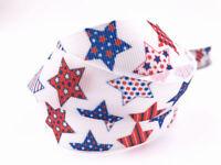 5 Yard 1'' Five-pointed star Printed Grosgrain Ribbon Hair Bow Sewing Ribbon