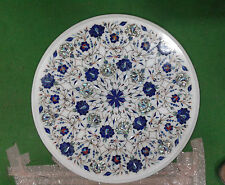 "18"" white  MARBLE DINING COFFEE CORNER ROUND KITCHEN TABLE TOP MOSAIC INLAY"