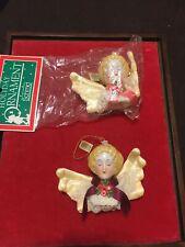 2 - Vintage Schmid Cherub Porcelain Victorian Angels Christmas Ornaments. Mint