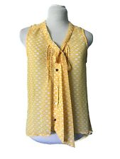 Xhilaration Sheer High Low Hem Top, Size S/P, Yellow/White, Button Down Front,