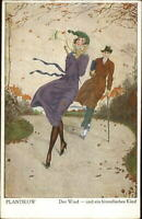Beautiful Woman Glamour Fashion Windy Day PLANTIKOW c1910 Postcard