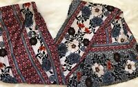 Vintage Retro Hippy Light Knit Flower Pattern Extreme Bell Bottom Pants Size S