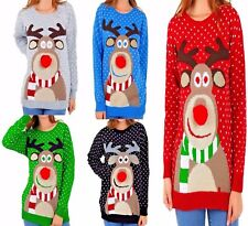 Christmas Jumper Rudolph Pom Pom Nose Ladies Sweater Knitted Xmas Top UK Womens