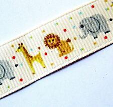 "Lot 5-YDS Zoo Animal 5/8""Grosgrain Ribbon.Lion,Giraffe,Elephant.Cream.Red Dots"
