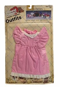 1985 Vintage Pound Puppies Tonka Lovable Huggable Outfit Party Dress Sealed New