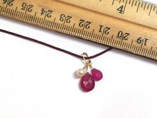 Beautiful Natural real ruby teardrop & pearl dangle charm pendant solid 14k gold