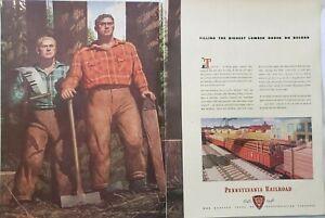 Vintage 1946 Pennsylvania Railroad Print Ad Ephemera Decor Art by Robert Riggs